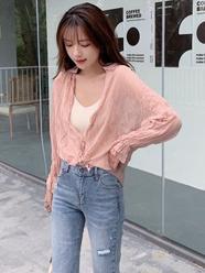 2021春夏款~实拍~小视频#韩版女装褶皱纯色长袖雪纺衬衫防晒开衫
