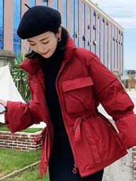 主推實拍2019冬裝網紅棉服學生立領系帶短款羽絨服外套女 828#