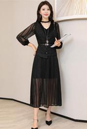2020春裝新款兩件套裙小香風女韓版修身網紗打底中長款針織連衣裙