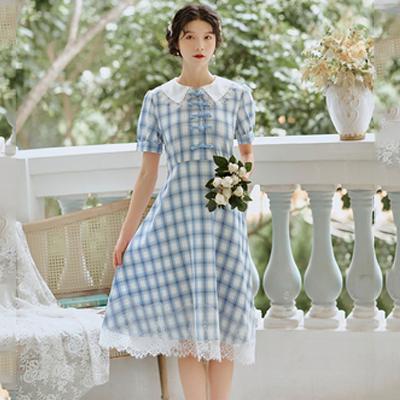 限价实拍不低于95复古文艺风 格子 蕾丝拼接减龄娃娃领连衣裙