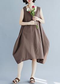 8116#现货2019夏新款纯色棉麻文艺大码女装无袖显瘦连衣裙 限价47