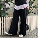 針織闊腿褲春秋冬九秋分學生垂墜感寬松百搭高腰直筒顯瘦毛線褲子