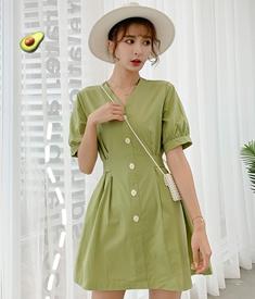 实拍智熏裙法式高腰V领连衣裙新款夏季装复古显瘦绿色桔梗裙子女