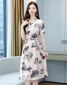中年妈妈夏装连衣裙2021新款洋气衣服中老年女装气质短袖春装裙子