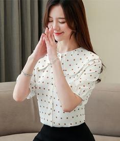 荷叶领雪纺衬衫女短袖2019夏装新款波点很仙的上衣韩版衬衣半袖潮