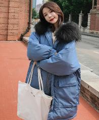 实拍新款大口袋棉衣女韩版宽松羽绒棉服女连帽ins加厚学生外套