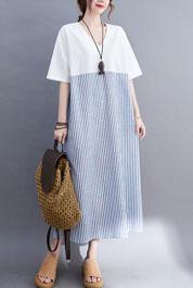 8319#实拍现货2021夏新款韩版宽松亚麻条纹棉麻大码女装连衣裙
