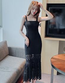 实拍2020春夏新款长款鱼尾蕾丝连衣裙时尚修身显瘦显气质