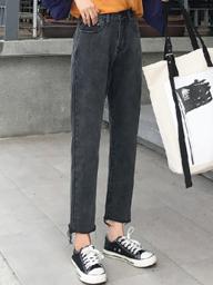 牛仔裤女春装2019新款韩版显瘦高腰学生九分裤裤子chic直筒裤