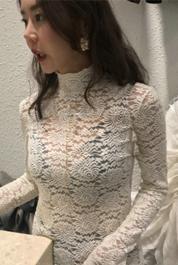 LAMP 韩国东大门女装2019秋款纯棉蕾丝衫弹力高领衫微透打底衫