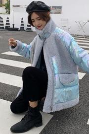 实拍秋冬季新款韩版立领仿羊羔毛拼接亮面外套女宽松加厚面包服潮