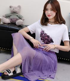 6615#实拍新款葡萄T恤+层层网纱半身裙女ins超火下半身裙  套装
