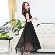 实拍1296#短袖雪纺连衣裙中长款2019夏新款女装韩版时尚修身长裙