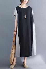 实拍现货2021年夏季新款拼接拼色宽松显瘦棉麻大码连衣裙女