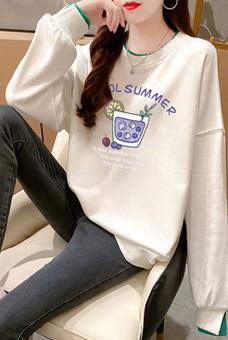 2542#实拍2020秋装新款韩版宽松果汁印花套头卫衣假两件上衣ins潮