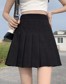 西装料百褶裙女2021秋冬季高腰a字显瘦短裙学院风百搭半身裙子