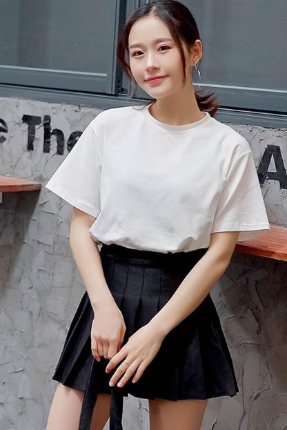 1528#实拍(9色)纯棉圆领宽松显瘦黑白色t恤女短袖纯色 (100棉)