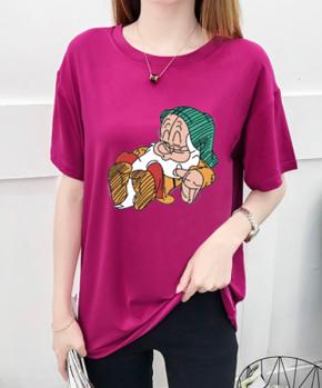 支持活动一件代发2020年夏季短袖T恤女新款韩版时尚卡通印花上衣