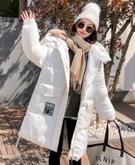 实拍羽绒棉服女中长款2018冬新款时尚百搭连帽棉衣修身显瘦外套