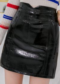 实拍秋季皮裙明星同款高腰漆皮口袋短裙亮皮PU包臀半身迷你裙韩版