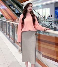 实拍~视频~1122#2020秋冬松紧腰坑条针织半身裙包臀侧开叉一步裙