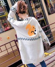 5875秋新款慵懒风毛衣女抖音网红同款松鼠针织开衫中长款原宿外套