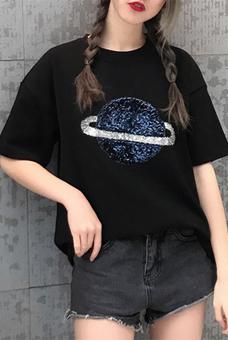 347#实拍2019新款夏装宽松短袖t恤女韩版学生星球贴花半袖上衣女