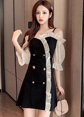 实拍现货 9531#一字领吊带露肩连衣裙~好质量