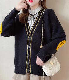 绵羊绒D255#实拍实价 2021秋季新款宽松慵懒风开衫长袖毛衣外套女