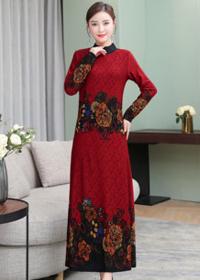 实拍新款气质优雅连衣裙长款收腰显瘦红色印花长袖长裙修身女
