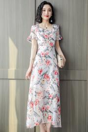 雪纺连衣裙2019夏季新款女装长款碎花裙时尚优雅很仙的小众长裙子