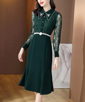 新年绿色连衣裙2021年早秋新款女装长袖蕾丝收腰宴会小礼服鱼尾裙