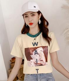 实拍8046#2019新款夏季短袖女宽松韩国闺蜜装港风网红印花学生T恤