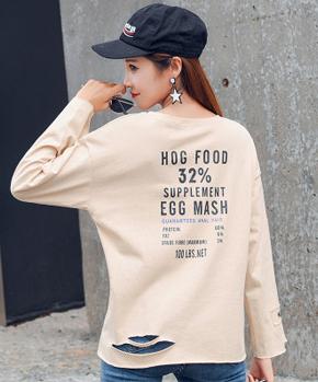 2020春裝838#實拍韓版新款學生后背字母個性時尚寬松破洞長袖T恤