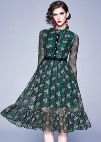 实拍现货8918#欧洲站新款复古蕾丝连衣裙中长裙时尚修身女装