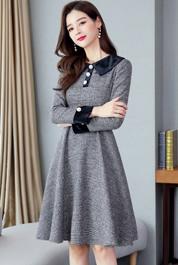 实拍现货春秋装长袖金丝绒拼接中长款秋冬季韩版收腰格子大摆裙