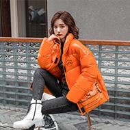实拍亮面羽绒服女短款2020新款冬季韩版立领宽松小个子面包服外套