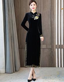 实拍加绒金丝绒高端改良清装旗袍日常可穿2020年新款改良版连衣裙