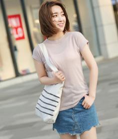 实拍现货2931 夏季新款韩版仿亚麻超薄透气纯色短袖T恤女