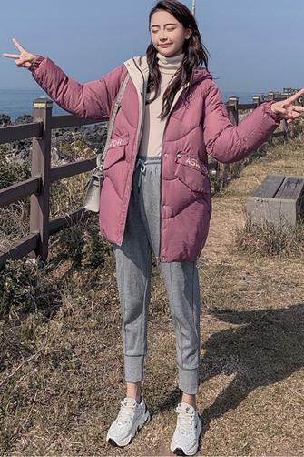 2019新款韩版连帽中长款羽绒棉服女宽松学生棉衣加厚波浪纹外套