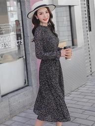 视频实拍2019春装新款荷叶领喇叭袖波点碎花百褶韩版连衣裙