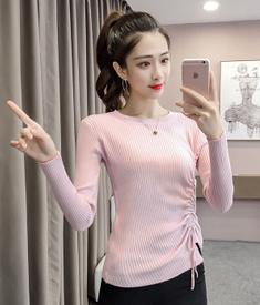 实拍现货2961  秋冬季新款韩版抽绳系带修身毛衣百搭针织打底衫女