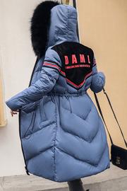 实拍新款羽绒服 女中长款时尚修身显瘦(真毛领)棉服外套