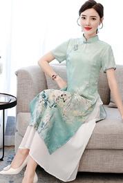 改良版正宗奧戴旗袍女中長款年輕款少女日常立領中國風連衣裙夏季