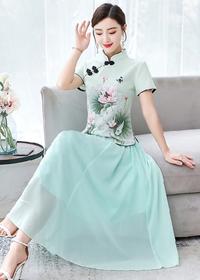 新式改良版唐装套装复古民国风女装年轻款中国风蚀骨两件套旗袍裙