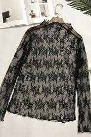 春秋性感长袖上衣时尚百搭半高领修身内搭女士透视网纱蕾丝打底衫