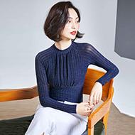 1215# (实拍) 新款百搭修身立领条纹网纱打底衫女