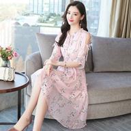 实拍9833连衣裙女夏季新款韩版气质修身碎花超仙中长款雪纺裙子