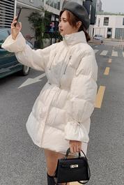 实拍抽绳收腰棉服女冬ins港风东大门中长款小个子保暖棉衣外套