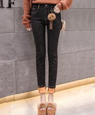 【实拍】2018新款高腰女裤秋冬紧身黑色加绒牛仔小脚铅笔小黑裤子